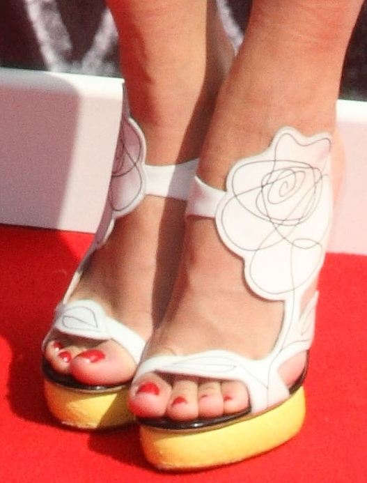 Rita Ota edged up her look with floral neon-heeled sandals
