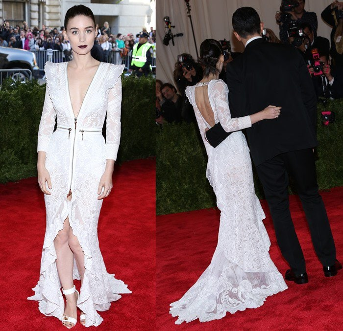 Rooney Mara on the red carpet at the 2013 Met Gala held at the Metropolitan Museum of Art in New York City on May 6, 2013