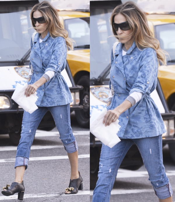 Sarah Jessica Parker taking her children to school in the West Village, New York on April 26, 2013