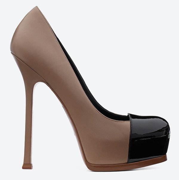 Saint Laurent Tribute Two Cap Toe Escarpin Pumps in Light Brown Leather and Black Patent Leather