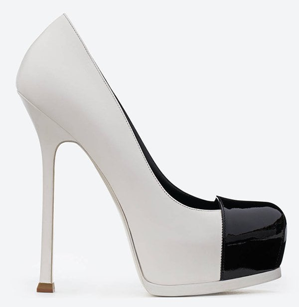 Saint Laurent Tribute Two Cap Toe Escarpin Pumps in White Leather and Black Patent Leather