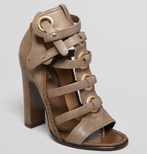 Salvatore Ferragamo Gladiator Sandals in Fossil Grey
