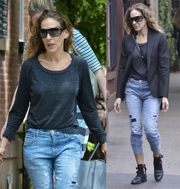 Sarah Jessica Parker in a masculine style as she walked her twins to school in the West Village, New York City on May 20, 2013