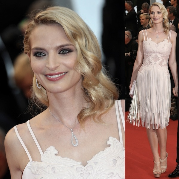 Sarah Marshall seemingly inspired by the 1920s at the 66th Annual Cannes Film Festival Opening Ceremony on May 15, 2013