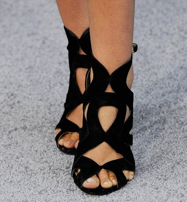 Serinda Swan rocks black suede sandals by Zara
