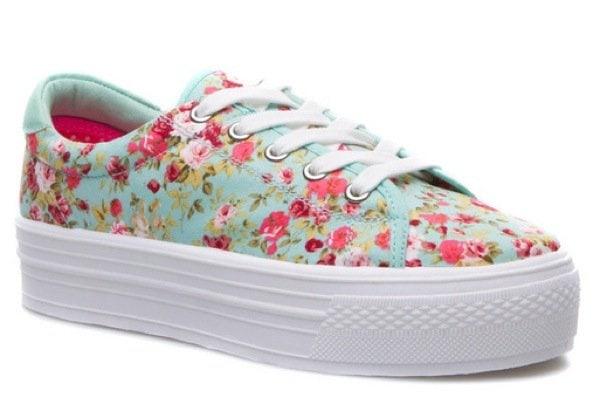 Platform Sneakers in Floral Multi
