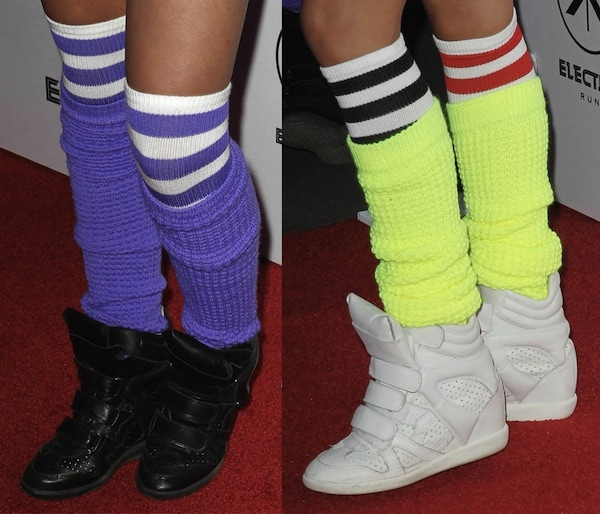 Colored leg warmers and Isabel Marant wedge sneakers