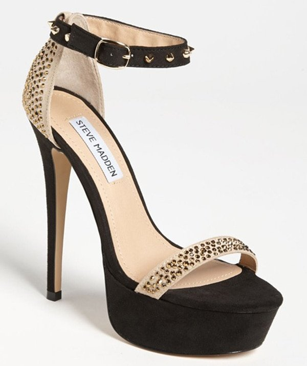 Glittery crystals light up a sultry two-tone pump with pointy metal spikes on the slender ankle strap