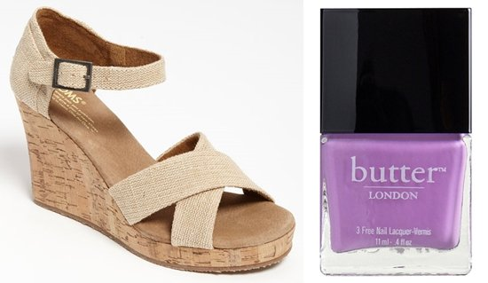 TOMS 'Sierra' Sandal with butter LONDON Molly Coddled Polish