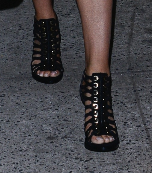 Tamara in chic and edgy Givenchy Zenaide caged sandals