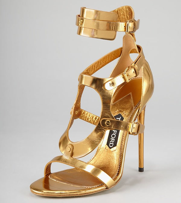 Tom Ford Triple-Buckle Metallic Sandals