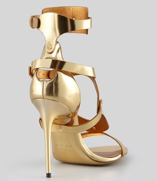 Tom Ford Triple-Buckle Metallic Sandals