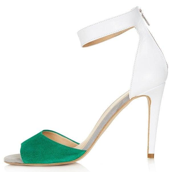 Topshop Rees 2 Part Hi Sandals Green White