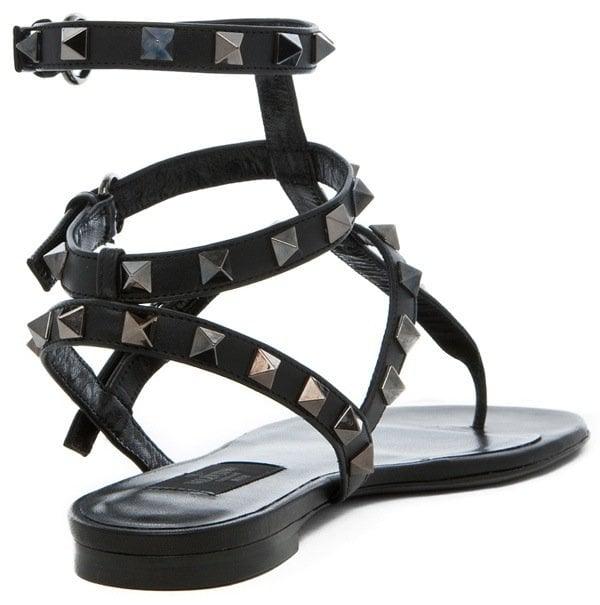 Valentino 'Noir' Gladiator Sandals in Ruthenium Black