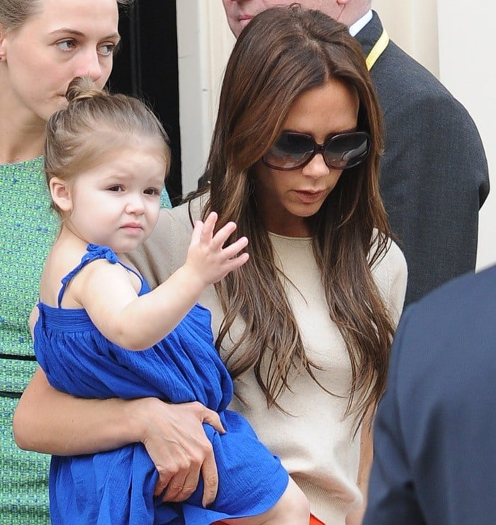 Victoria Beckham with daughter Harper leaving the Arts Club