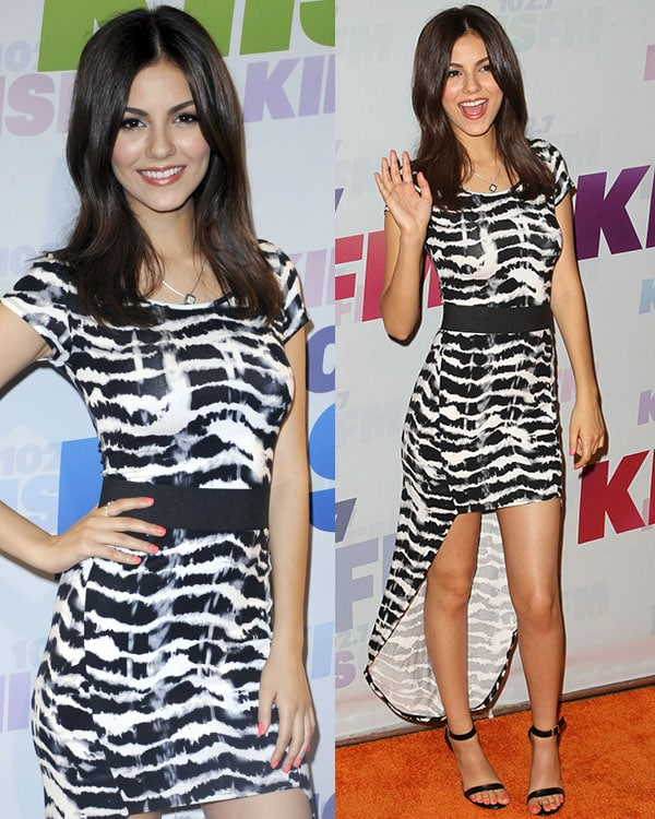 Victoria Justice wears an abstract tie-dye printed Guess dress at the 2013 Wango Tango presented by 102.7 KIIS FM