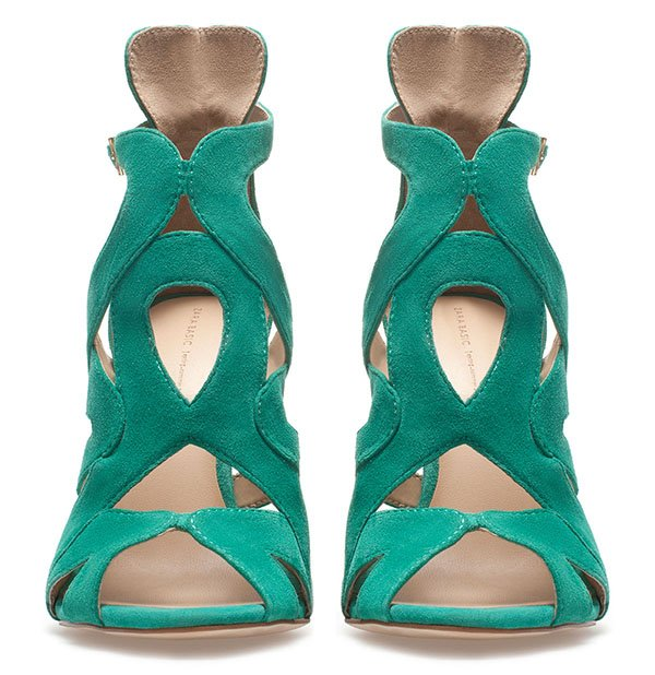 Zara Strappy High Heel Sandals in Green