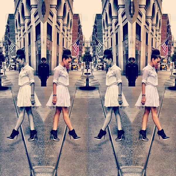 "Via Zendaya's Twitter, captioned: ""NY look #1 by @luxurylaw @donnakaranDKNY (I got them editing skills)"""