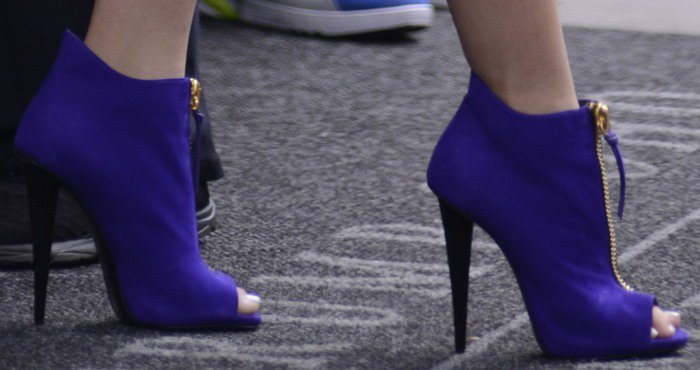 Zendaya's feet in purple Giuseppe Zanotti peep-toes