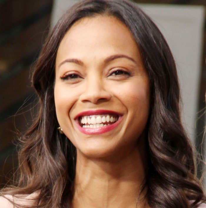 Zoe Saldana at The Grove to appear on entertainment news show 'Extra' in Los Angeles on May 13, 2013