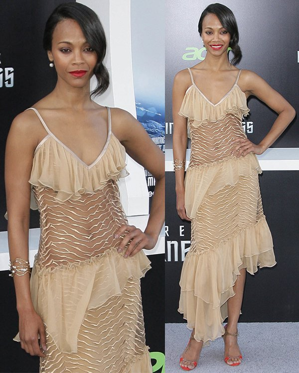 Zoe Saldana, who plays Lieutenant Nyota Uhura in the film, was a stunner in a revealing Rodarte Fall 2013 dress