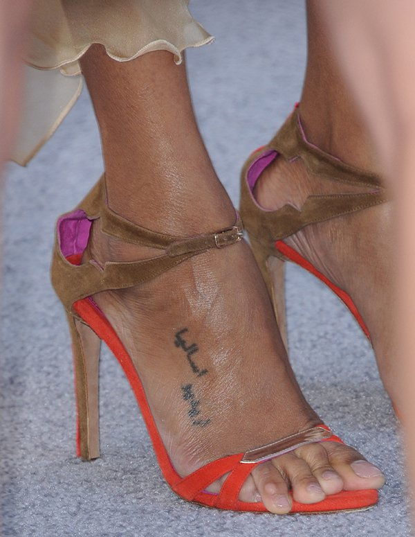 One of Zoe Saldana's toes tried to escape at the premiere of 'Star Trek Into Darkness' held at the Dolby Theater in Hollywood, Los Angeles on May 14, 2013