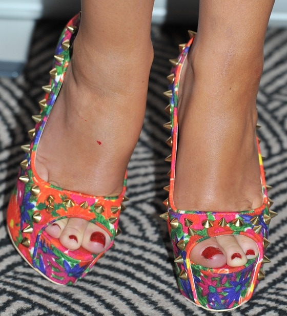 Chantelle Houghton rocking the most colorful heels we've ever seen