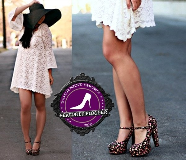Diya wears a playful hat and lace mini dress with floral print heels