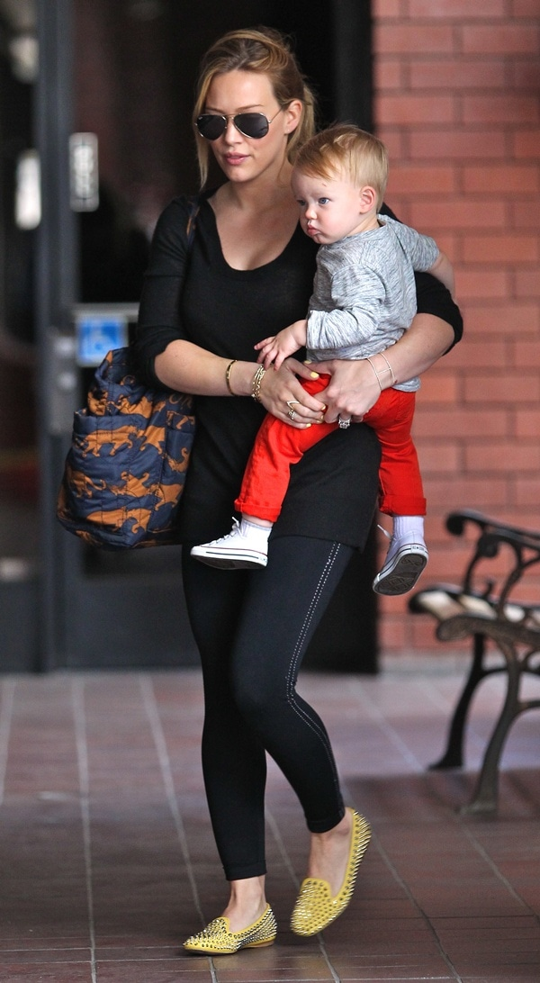 Hilary Duff takes her son Luca to Babies First Class