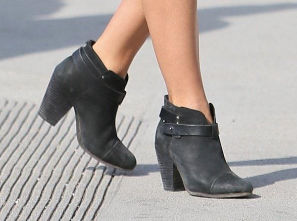 Julianne Hough wearing Rag & Bone Harrow ankle boots