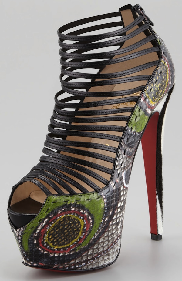 Christian Louboutin Multicolor Zoulou Python Strappy Platform Red Sole Sandal