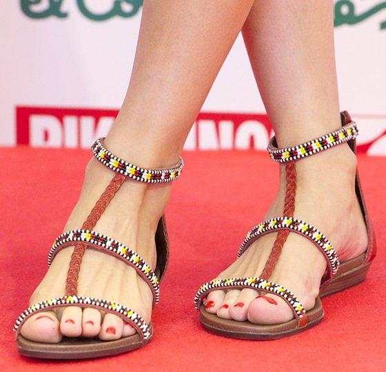 Olivia Palermo wearing hand-beaded Pikolinos sandals