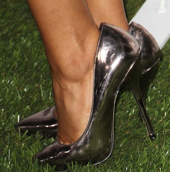 Pia Toscano wearing metallic pewter pumps
