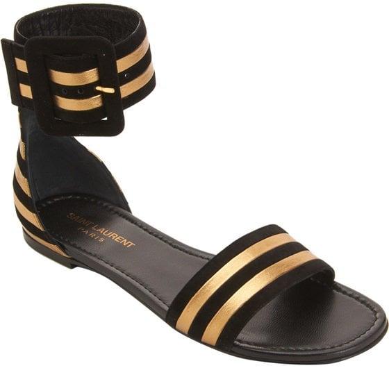 Black/Gold 'Paloma' Flat Sandals