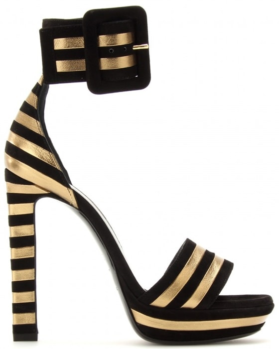 Black/Gold Paloma Suede and Metallic Leather Striped Sandals