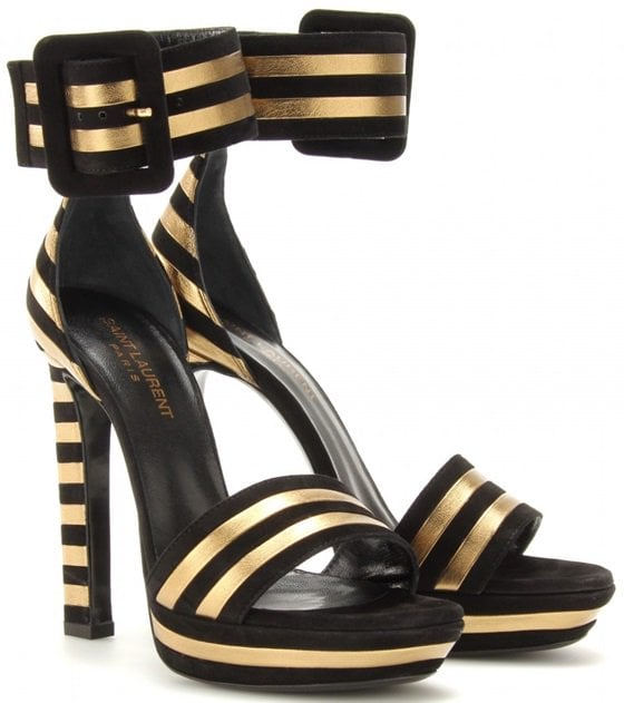Black/Gold 'Paloma' Suede and Metallic Leather Striped Sandals