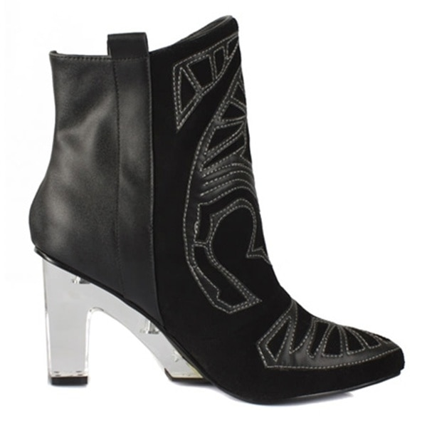 Suede Embroidered Ankle Boots