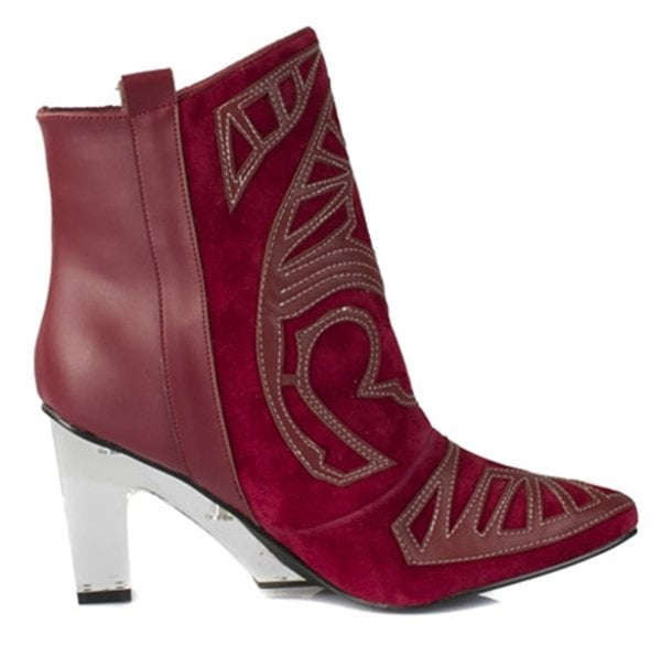 Suede Embroidered Ankle Boots in Maroon