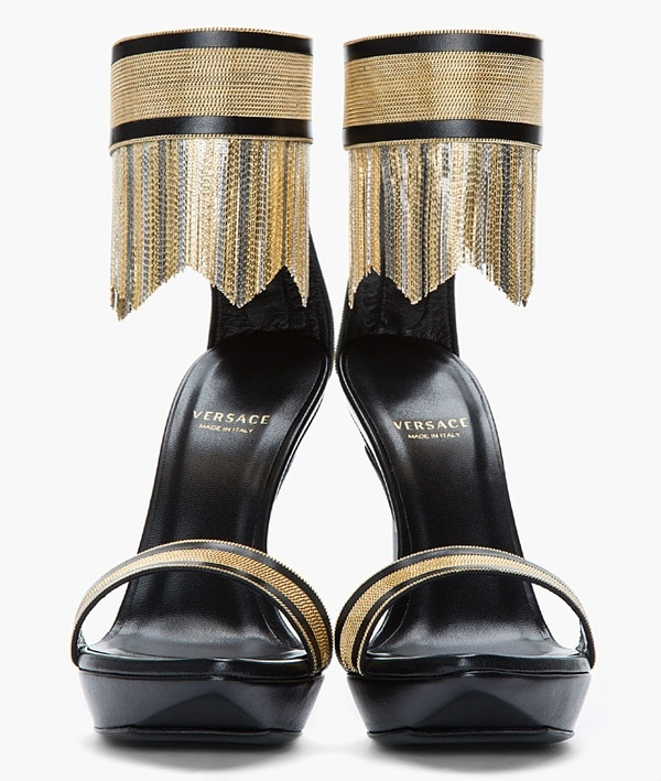 Versace Gold Fringed Ankle-Strap Sandals