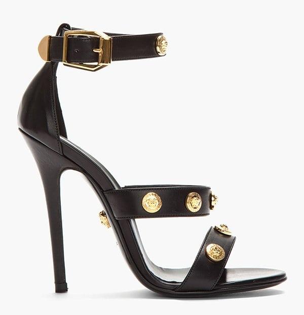 Versace Black Leather Gold Medallion Heels