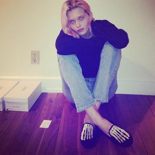 Australian model Abbey Lee Kershaw in her Mara & Mine skeleton slippers