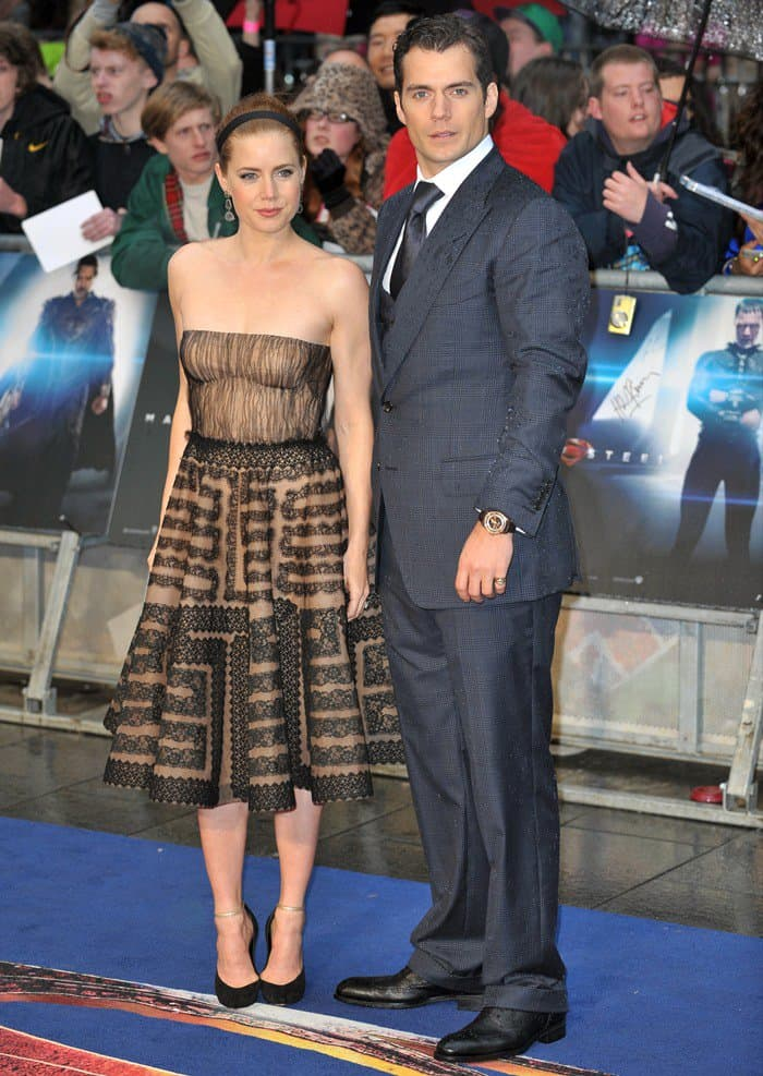 Amy Adams & Henry Cavill attend the UK Premiere of 'Man of Steel' at Odeon Leicester Square on June 12, 2013 in London, England