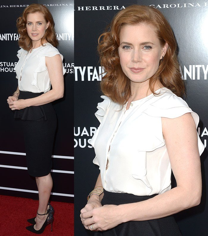 Amy Adams wears an elegant and demure black-and-white look to the opening of the Beverly Hills Carolina Herrera store