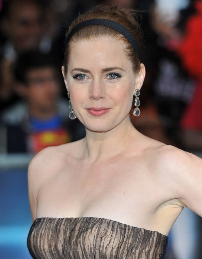 Amy Adams in Valentino Spring 2013 Couture strapless nude A-line dress
