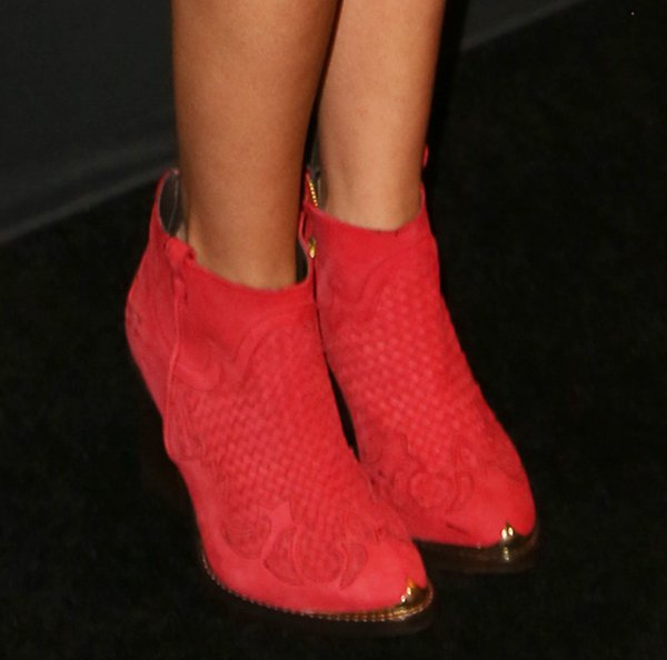Ashley Tisdale rocked Topshop woven boots