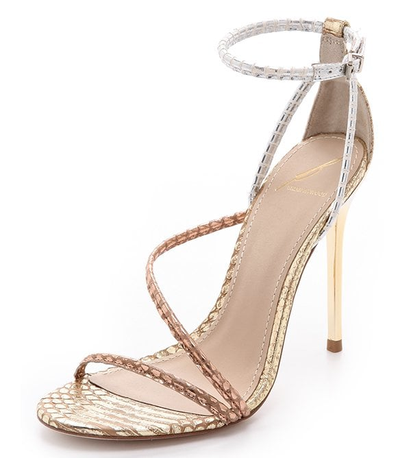 """B Brian Atwood """"Labrea"""" Sandals in Gold/Rose Gold/Silver Multi"""