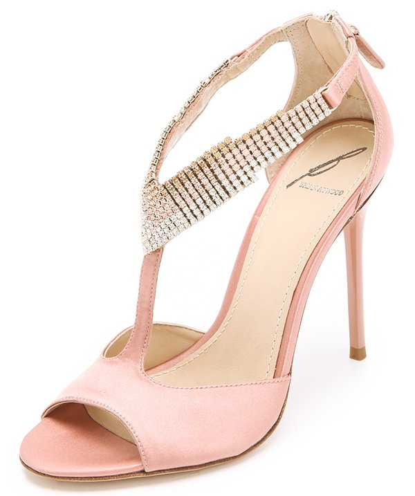 B Brian Atwood Loreto Crystal Sandals in Champagne