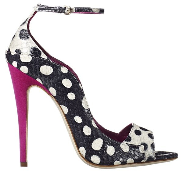 Brian Atwood Evie Pumps in Violet Tejus Lizard
