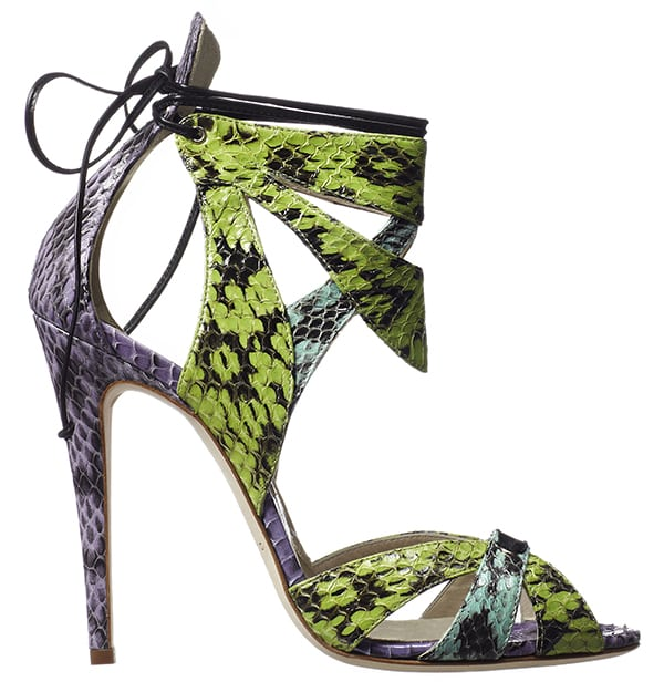 Brian Atwood Uma Sandals Multicolor Snakeskin