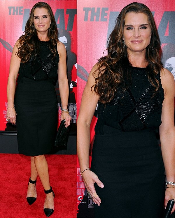Brooke Shields paraded her legs at the New York premiere of The Heat